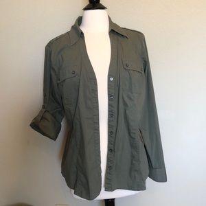 Express Army Green Shirt w/Convertible Sleeves